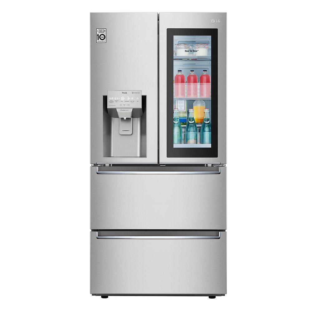 LG Electronics 33-inch W 18 cu. ft. French Door Refrigerator with 2 Freezer Drawers and InstaView Door-in-Door in Fingerprint Resistant Stainless Steel, Counter Depth - ENERGY STAR®
