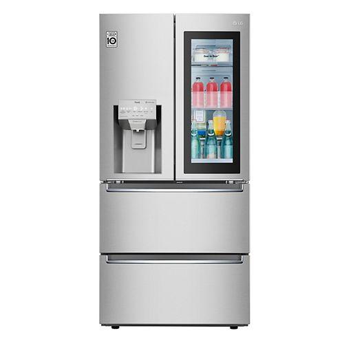 Réfrigérateur à porte française de 33 po de largeur et de 18 pi3 avec 2 tiroirs de congélation et porte InstaView dans la porte en acier inoxydable résistant aux empreintes digitales, profondeur du comptoir - ENERGY STAR® (en anglais seulement)