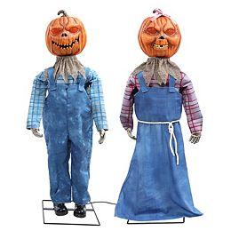 LED-Lit Pumpkin Couple Halloween Decoration