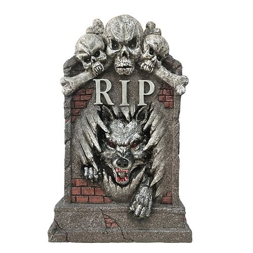 22-inch LED-Lit Wolf Tombstone Halloween Decoration