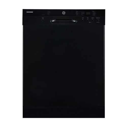 GE 24-inch Built-In Front Control Dishwasher in Black with Stainless Steel Tub