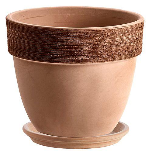 """Les Entreprises Marsolais Clay vase with Saucer 14"""""""