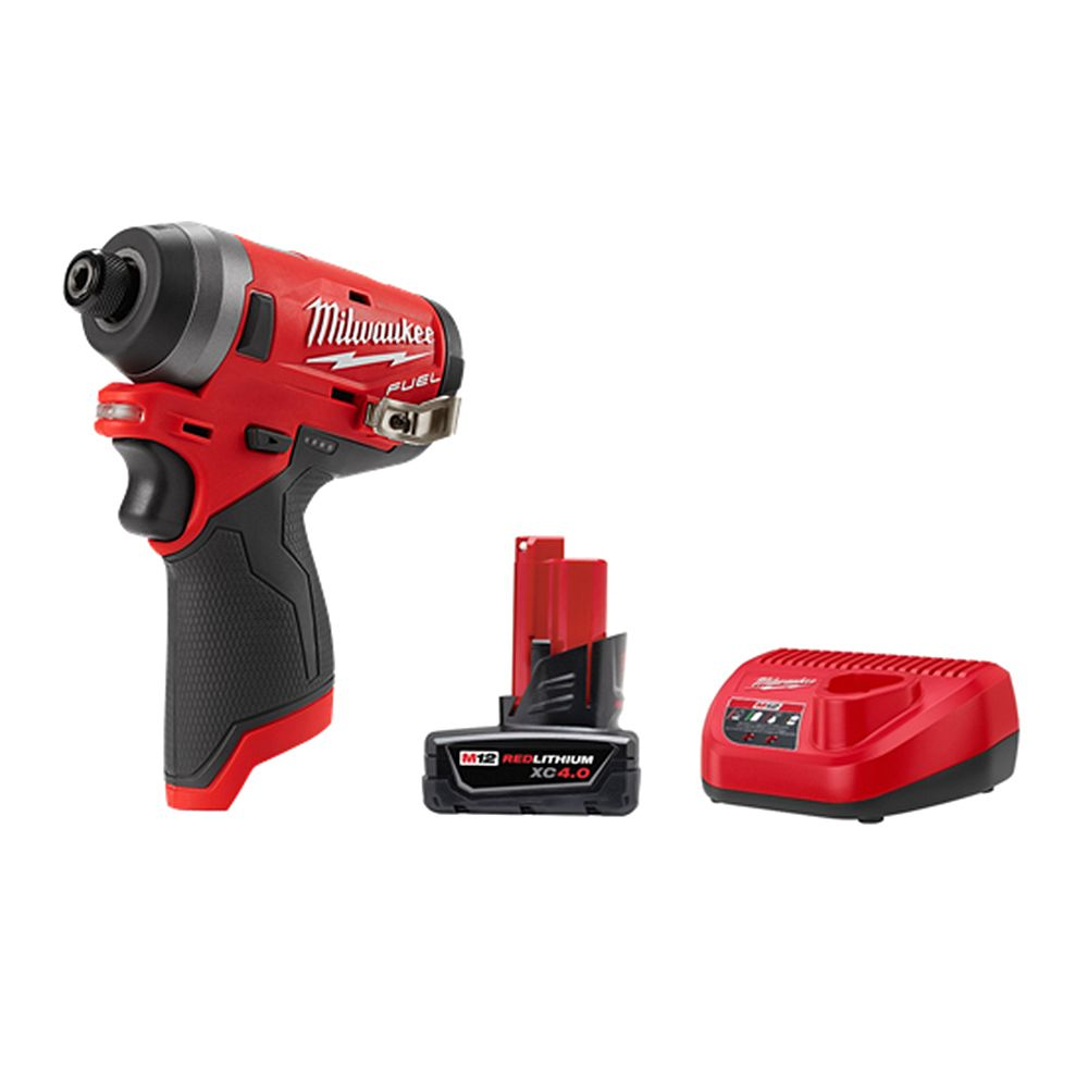 Milwaukee Tool M12 FUEL 12V Li-Ion Brushless Cordless 1/4 -inch Hex Impact Driver Kit w/ 4.0 Ah Battery and Charger