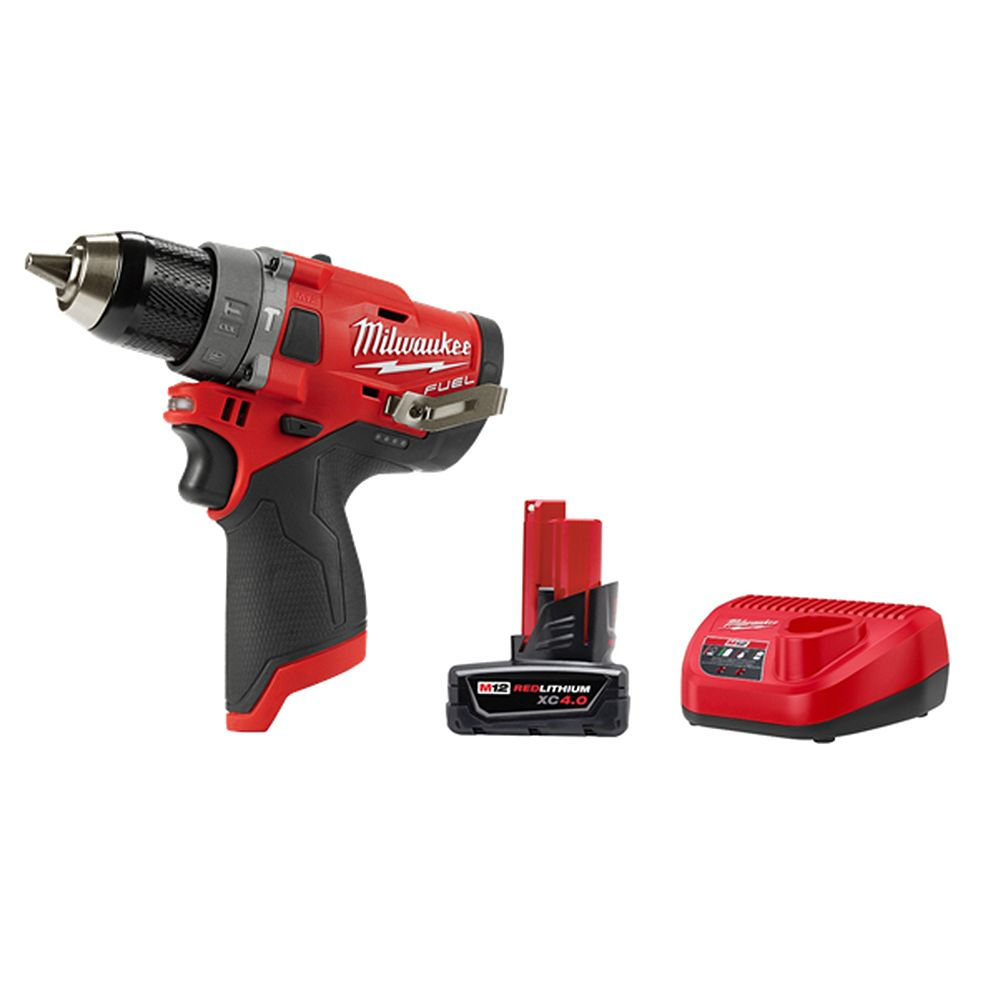 Milwaukee Tool M12 FUEL 12V Li-Ion Brushless Cordless 1/2 -inch Hammer Drill Kit w/ 4.0 Ah Battery and Charger