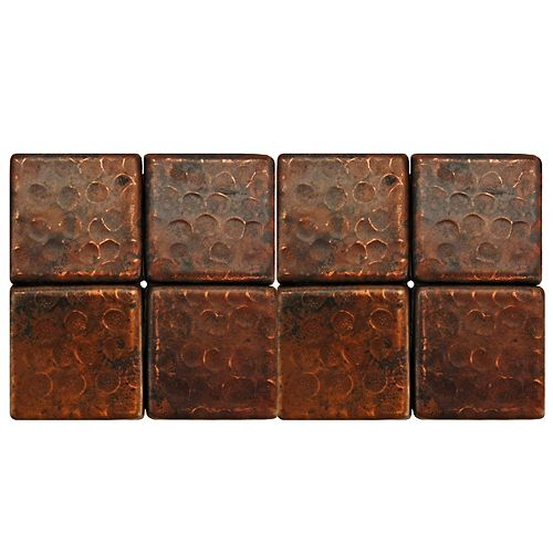 2-inch x 2-inch Hammered Copper Decorative Wall Tile in Oil Rubbed Bronze (Quantity 8)