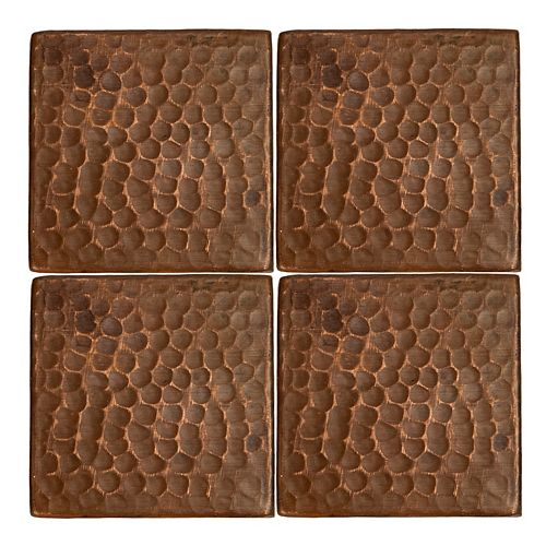 3 in. x 3 in. Hammered Copper Decorative Wall Tile in Oil Rubbed Bronze (Quantity 4)