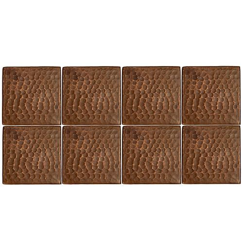 3-inch x 3-inch Hammered Copper Decorative Wall Tile in Oil Rubbed Bronze (Quantity 8)