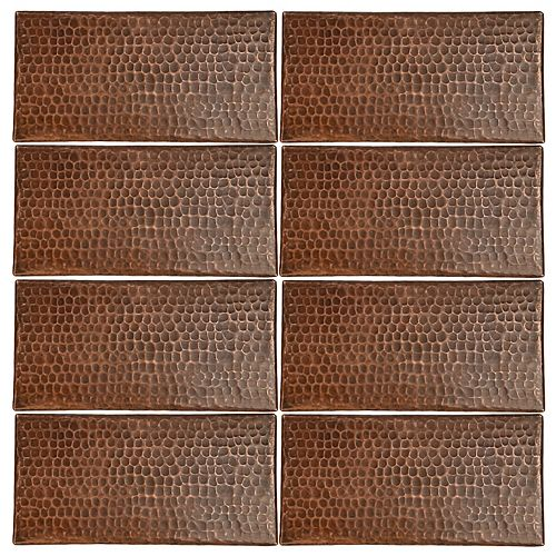 4-inch x 8-inch Hammered Copper Decorative Wall Tile in Oil Rubbed Bronze (Quantity 8)