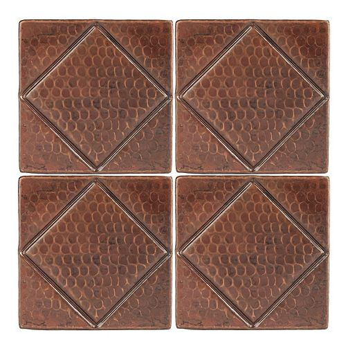 4-inch x 4-inch Hammered Copper Decorative Wall Tile with Diamond Design in ORB (Quantity 4)