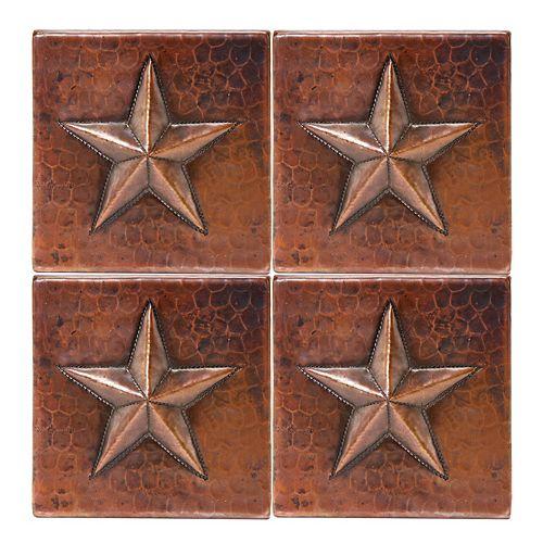 Tuile de 4 po x 4 po en cuivre martelé détoile Qté de 4