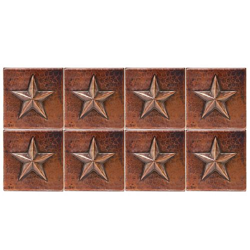 Premier Copper Products 4-inch x 4-inch Hammered Copper Star Decorative Wall Tile in Oil Rubbed Bronze (Quantity 8)