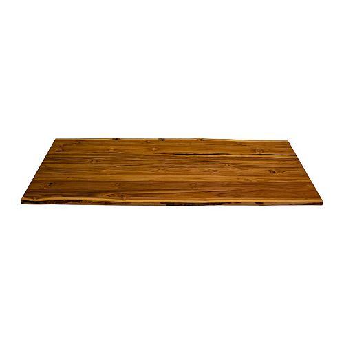 Comptoir en teck 79 x 31,5 x 1,2 po, bord direct 2 côtés, finition transparente