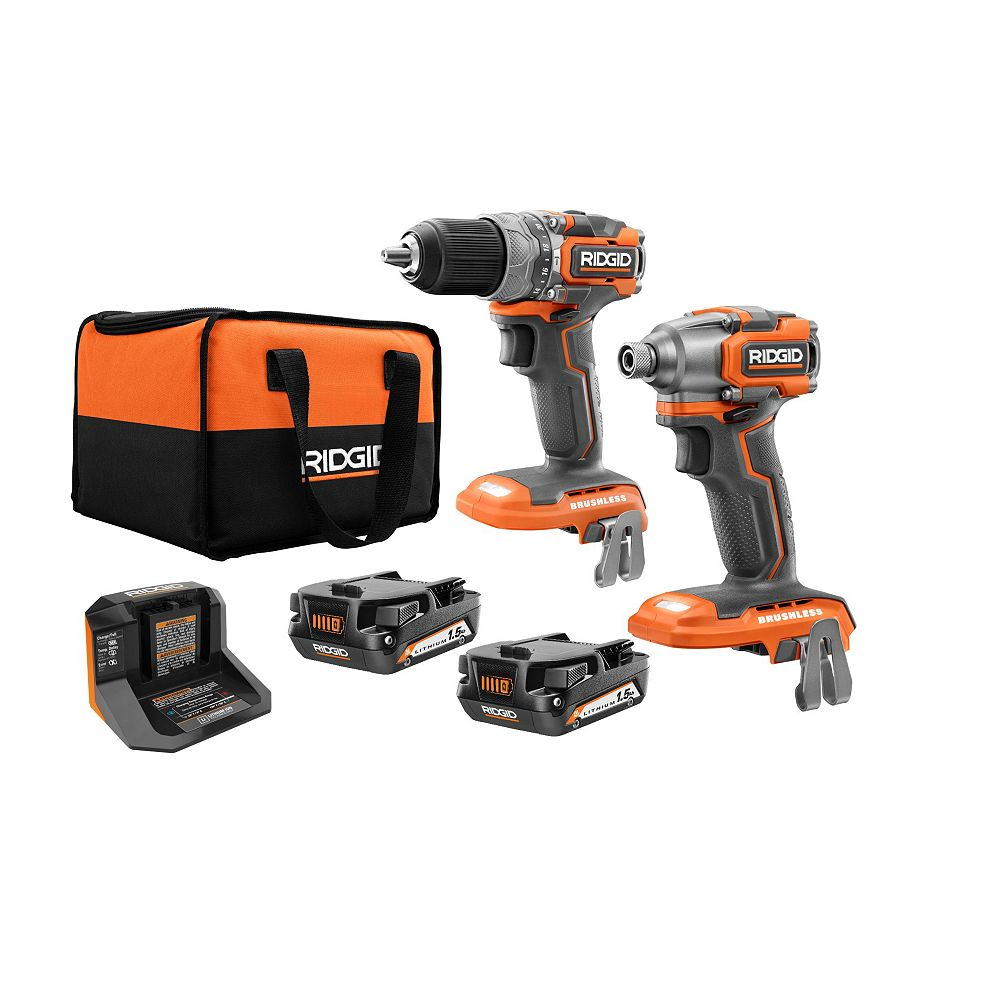 RIDGID 18V Brushless Sub-Compact Cordless 1/2-inch Hammer Drill and Impact Driver Combo Kit
