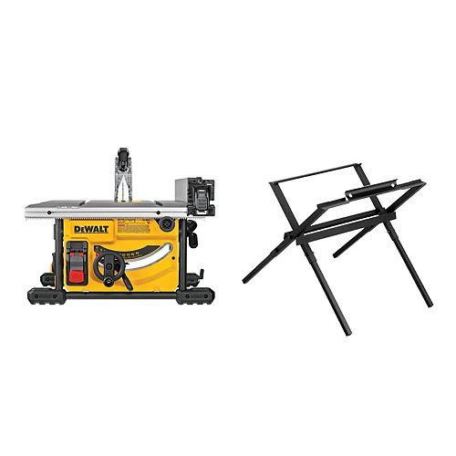 Scie à table de chantier compacte de 15 ampères, 8-1/4 po. Scie à table de chantier compacte avec support