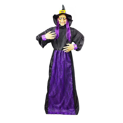 5.5 ft. Animated LED-Lit Witch Halloween Decoration