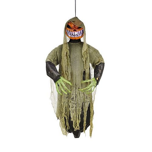Home Accents Holiday 4 ft. LED-Lit Hanging Pumpkin Man Halloween Decoration