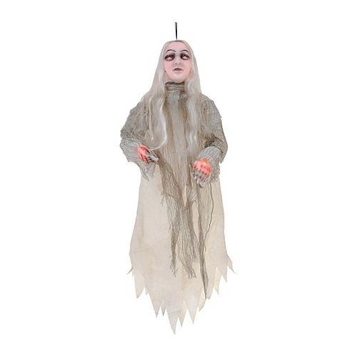 4 ft. LED-Lit Hanging Ghost Girl Halloween Decoration