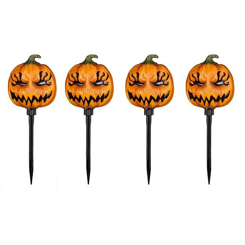 4-Pack LED-Lit Jack-O-Lantern Halloween Decoration Pathway Markers with Timer