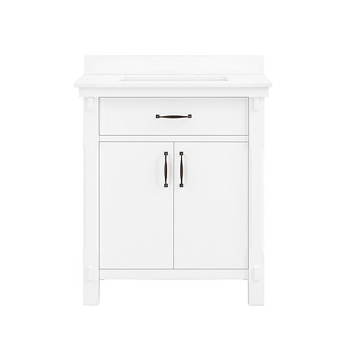Bellington 30 inch Vanity in White with Engineered Stone Vanity Top in White with White Basin