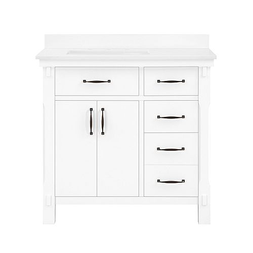Bellington 36 inch Vanity in White with Engineered Stone Vanity Top in White with White Basin