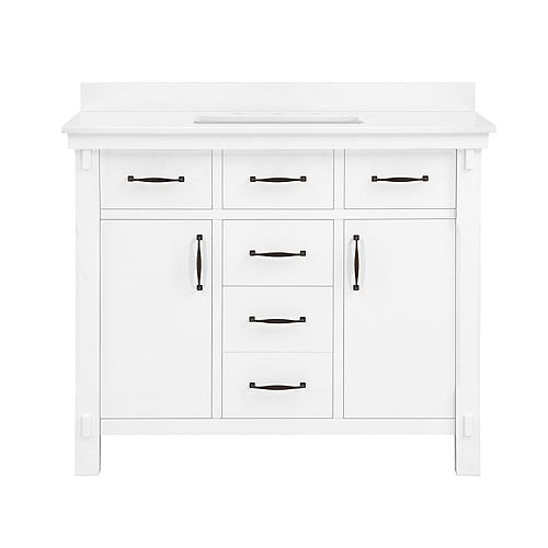 Bellington 42 inch Vanity in White with Engineered Stone Vanity Top in White with White Basin