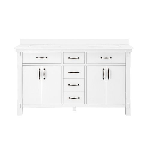 Bellington 60 inch Vanity in White with Engineered Stone Vanity Top in White with White Basin