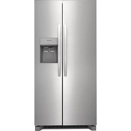 Réfrigérateur côte à côte de 33 po de largeur et de 22,2 pi3 en acier inoxydable