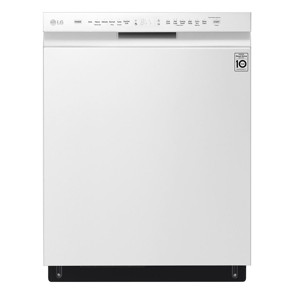 LG Electronics Front Control Dishwasher with 3rd Rack and QuadWash in White with Stainless Steel Tub, 48 dBA - ENERGY STAR®