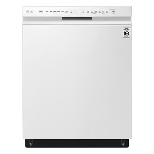 Front Control Dishwasher with 3rd Rack and QuadWash in White with Stainless Steel Tub, 48 dBA