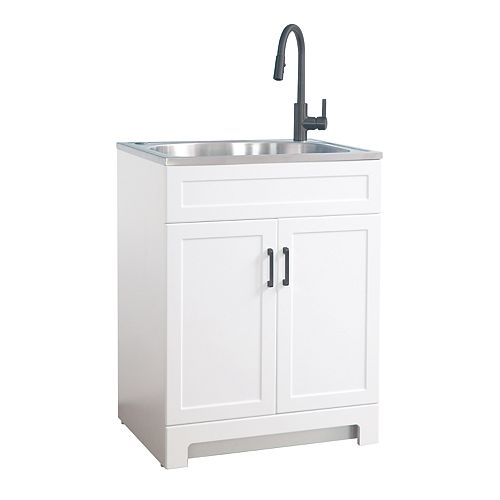 All in One 25-inch Laundry Cabinet with Stainless Steel Sink, Black Faucet and Handle