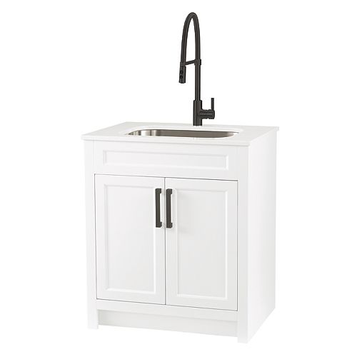 All in One 30-inch Laundry Cabinet with Marble Top, Black Faucet and Handle