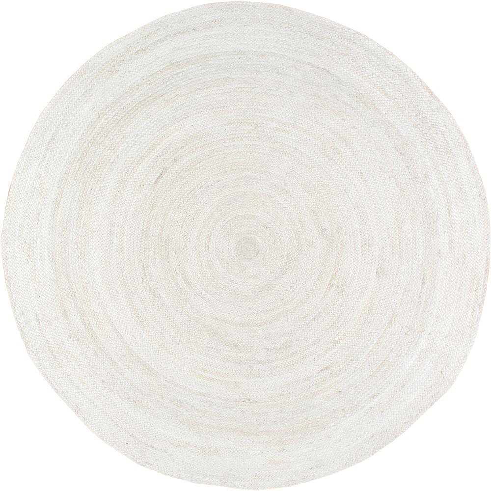 nuLOOM Hand Woven Rigo Jute Off White 7 ft. Indoor Round Rug