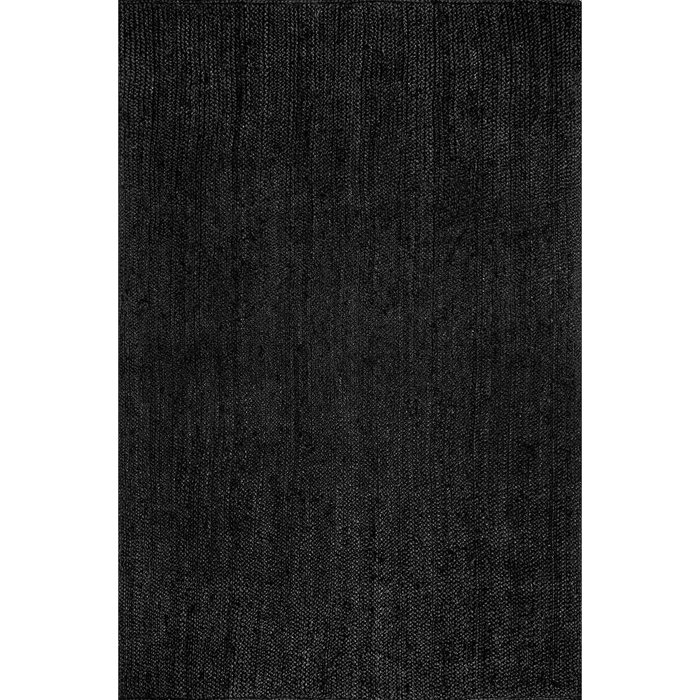nuLOOM Hand Woven Rigo Jute Black 3 ft. x 5 ft. Indoor Area Rug