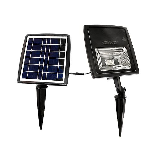 Gama Sonic 2W Integrated LED Black Outdoor Solar Floodlight, Warm White