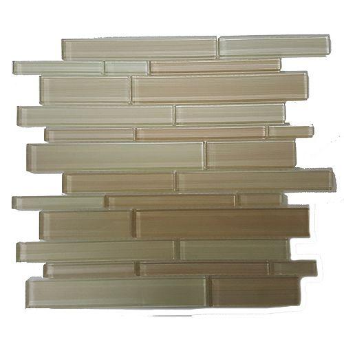 Mono Serra Carreau de mosaïque en verre Skyline Beige 14 po x 12 po, 5 pi2/boîte