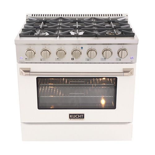 Kucht 36 in. 5.2 cu. ft. Gas Range with Convection Oven and White Door