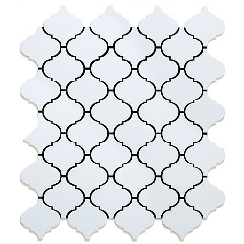 Marrakesh WH 10.9 in. x 12.4 in. x 5 mm White Metal Peel and Stick Wall Mosaic Tile (0.94 sq.ft./ea)