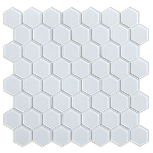 Sea Breeze 11.5 in. x 11.1 in. x 5 mm White Glass Peel and Stick Wall Mosaic Tile (0.88 sq.ft/ea)