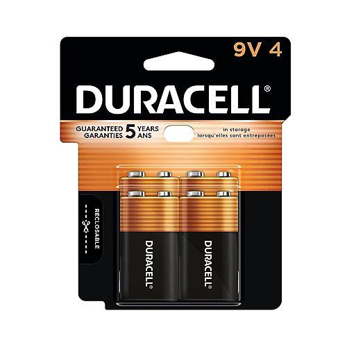 Duracell Coppertop 9V Alkaline Batteries, 4 Pack