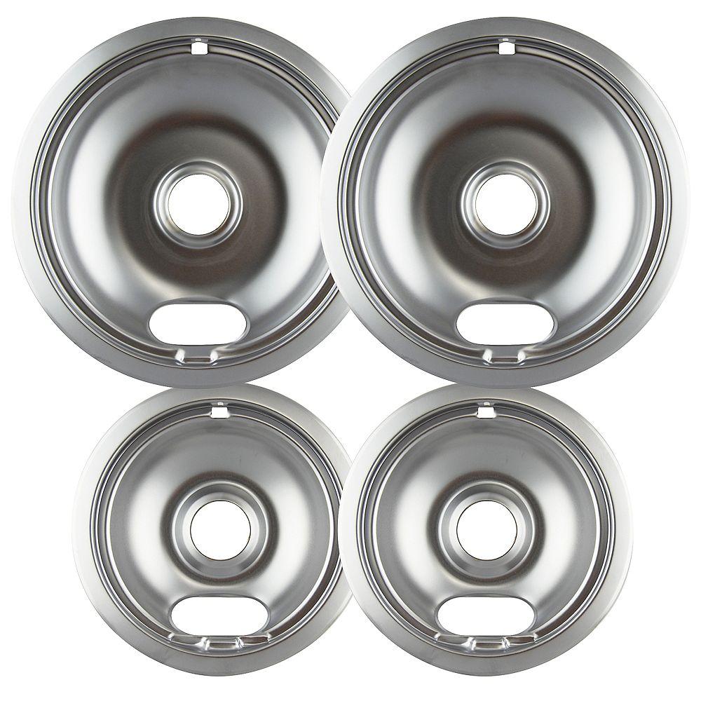 """Range Kleen Range Kleen  2 Sm/6"""" & 2 Lg/8"""" Chrome Drip Bowl, 4 Pk"""