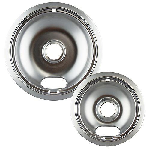 "Range Kleen 1 Sm/6"" & 1 Lg/8"" Chrome Drip Bowl, 2 Pk"