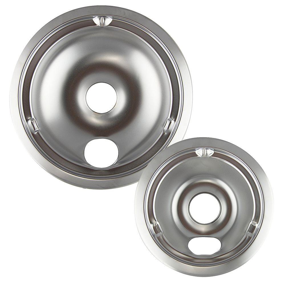 """Range Kleen Range Kleen 1 Sm/6"""" & 1 Lg/8"""" Chrome Drip Bowl, 2 Pk"""