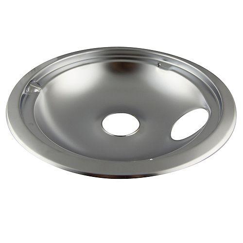 "Range Kleen 8""/Lg Chrome Drip Bowl, Sgl Pk, w/ step down"
