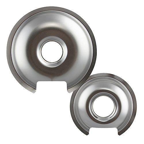 "Range Kleen 1 Sm/6"" & 1 Lg/8"" Chrome Drip Pan, 2 Pk"