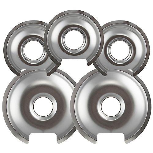 "Range Kleen 3 Sm/6"" & 2 Lg/8"" Chrome Drip Pan, 5 Pk"