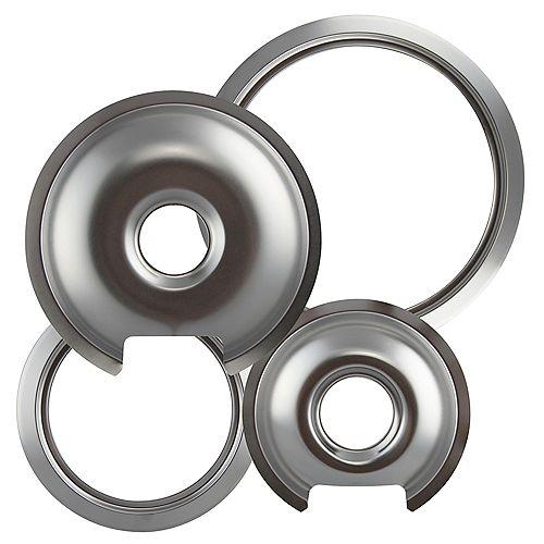 "Range Kleen 1 Sm/6"" & 1 Lg/8"" each  Chrome Drip Pan & Trim Ring, 4 Pk"