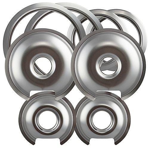 "Range Kleen 2 Sm/6"" & 2 Lg/8"" each Chrome Drip Pan & Trim Ring, 8 Pk"