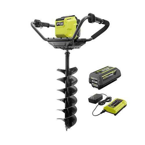 40V HP Brushless Cordless Earth Auger with 8-inch Bit, 4.0Ah Battery and Charger