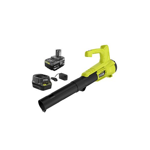 RYOBI 18V ONE+ 90 MPH 250 CFM Cordless Leaf Blower/Sweeper w/ 4.0Ah Battery and Charger