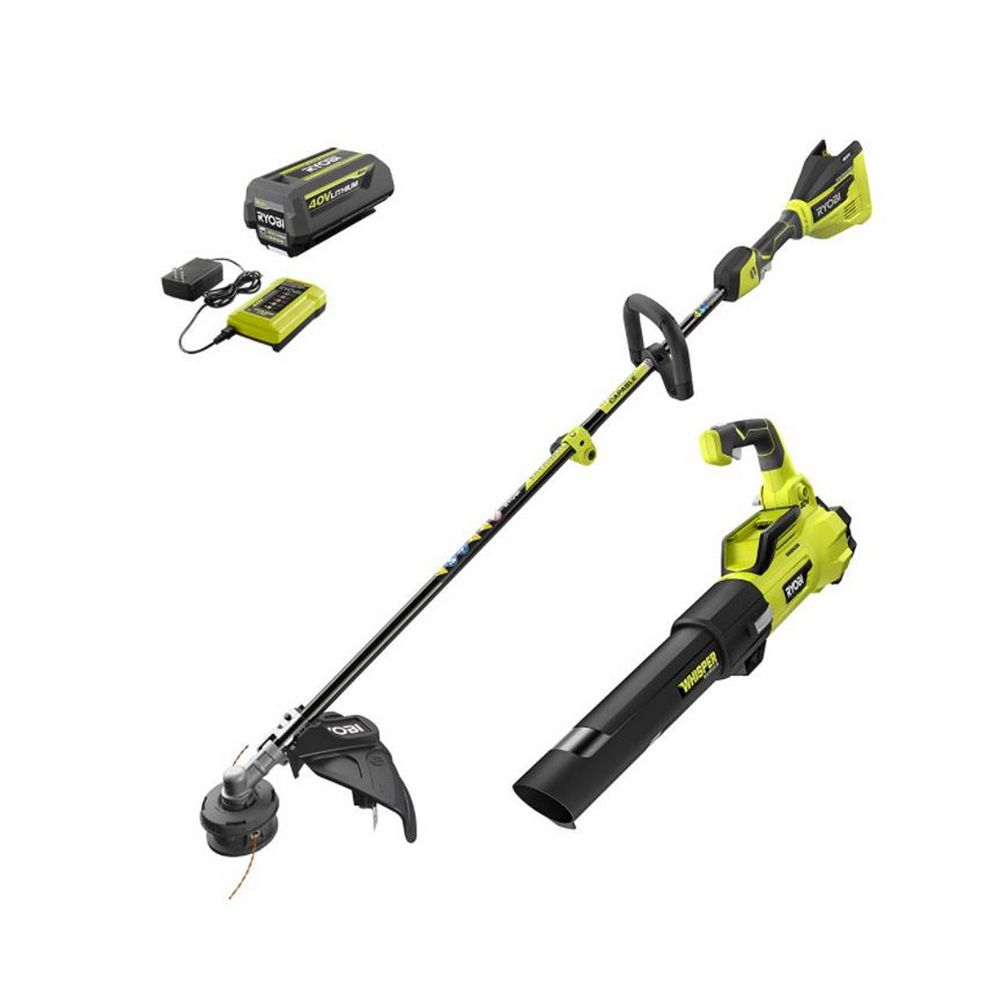RYOBI 40V Brushless Cordless String Trimmer and Jet Fan Leaf Blower Kit with 4.0 Ah Battery and Charger